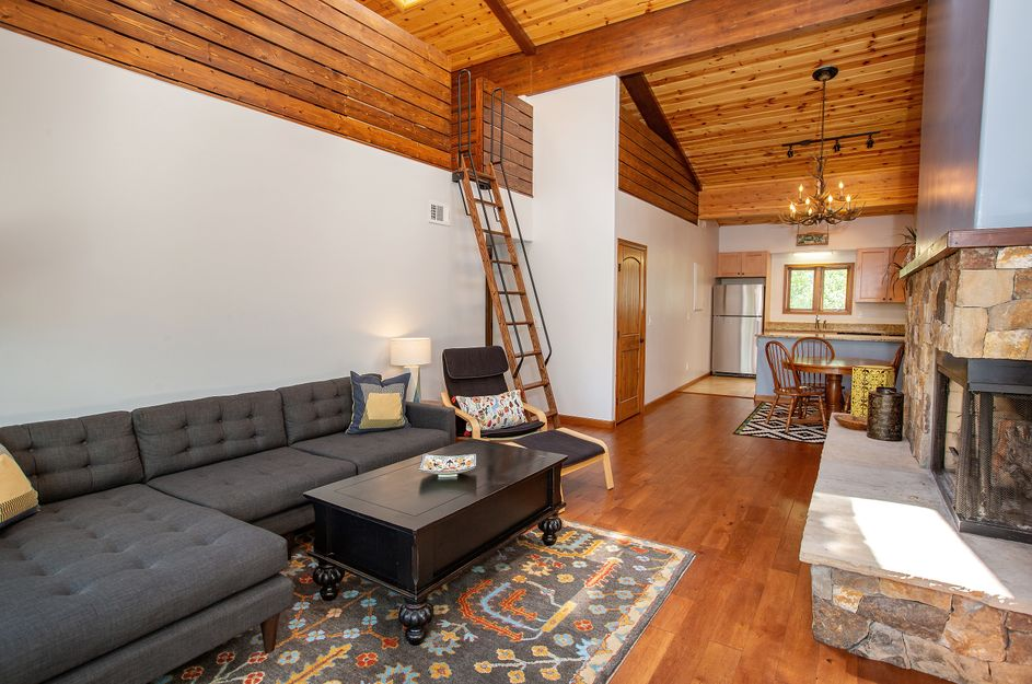 Living area with wood-burning fireplace in this affordable River Oaks condominium