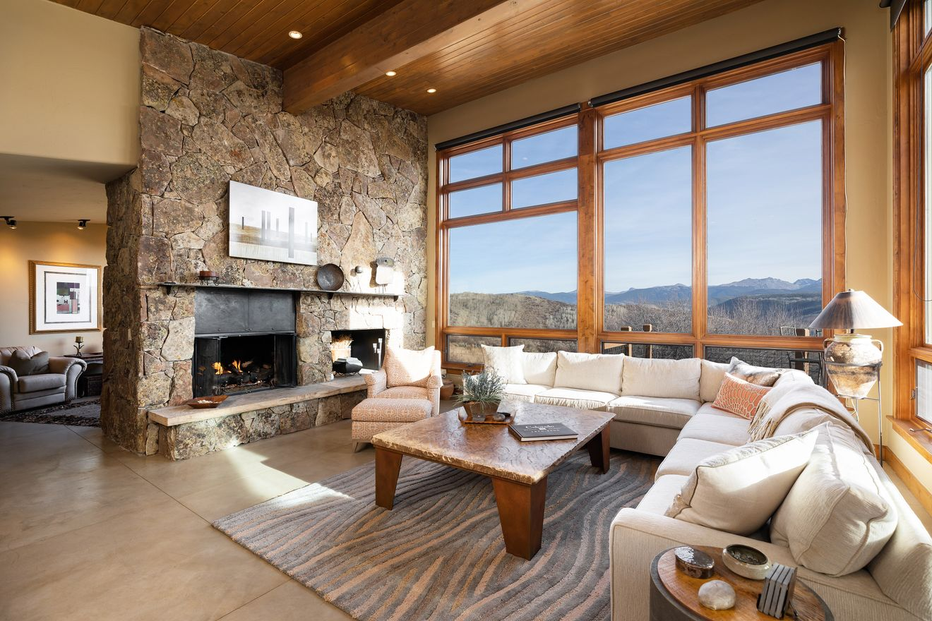 A great room for cozying up by the fire
