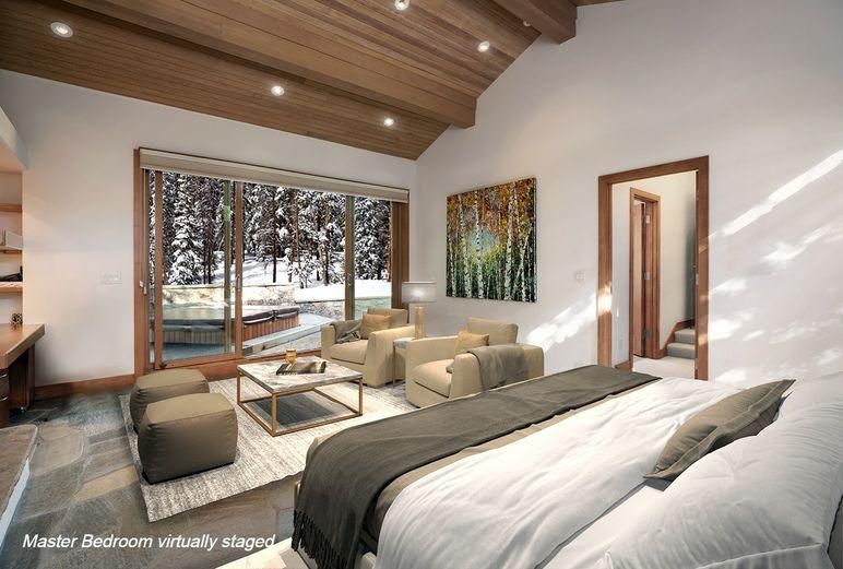 Master bedroom in ski-in/ski-out home
