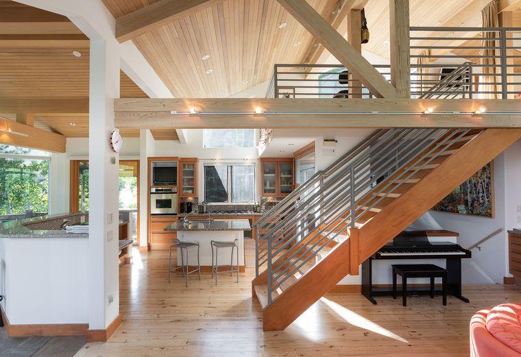 Sunlit kitchen in ski-in/ski-out home