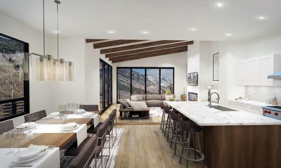 4822 Meadow Lane West Virtual Rendering of a modern kitchen and living room with mountain views.