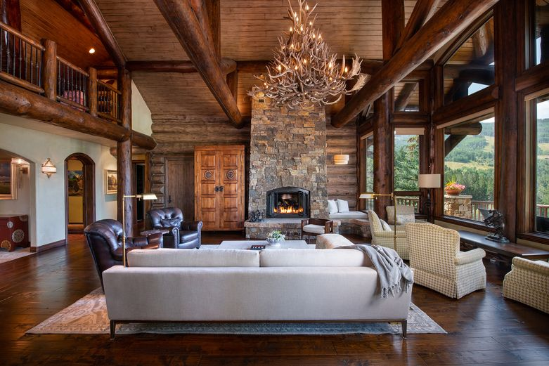 259 Elkhorn, Bachelor Gulch home with grand ceilings, mountain views, and log cabin design.