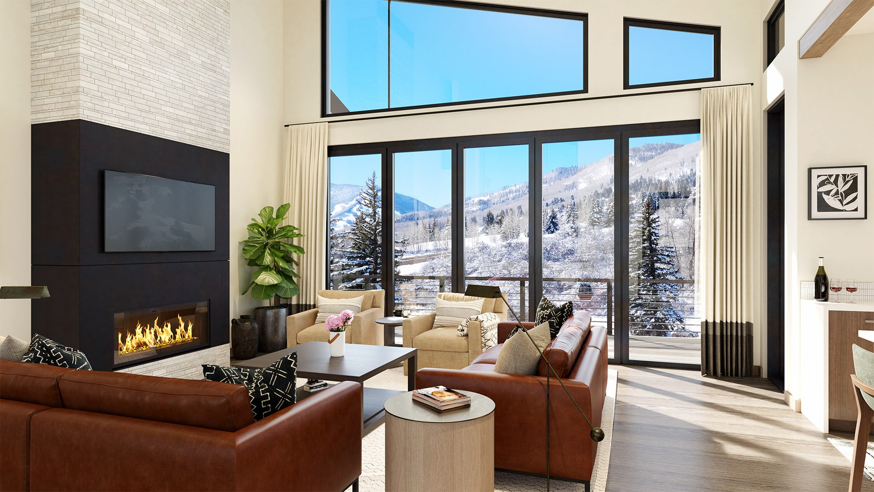 Riverfront Residences Virtual Rendering Living Room with snowy views