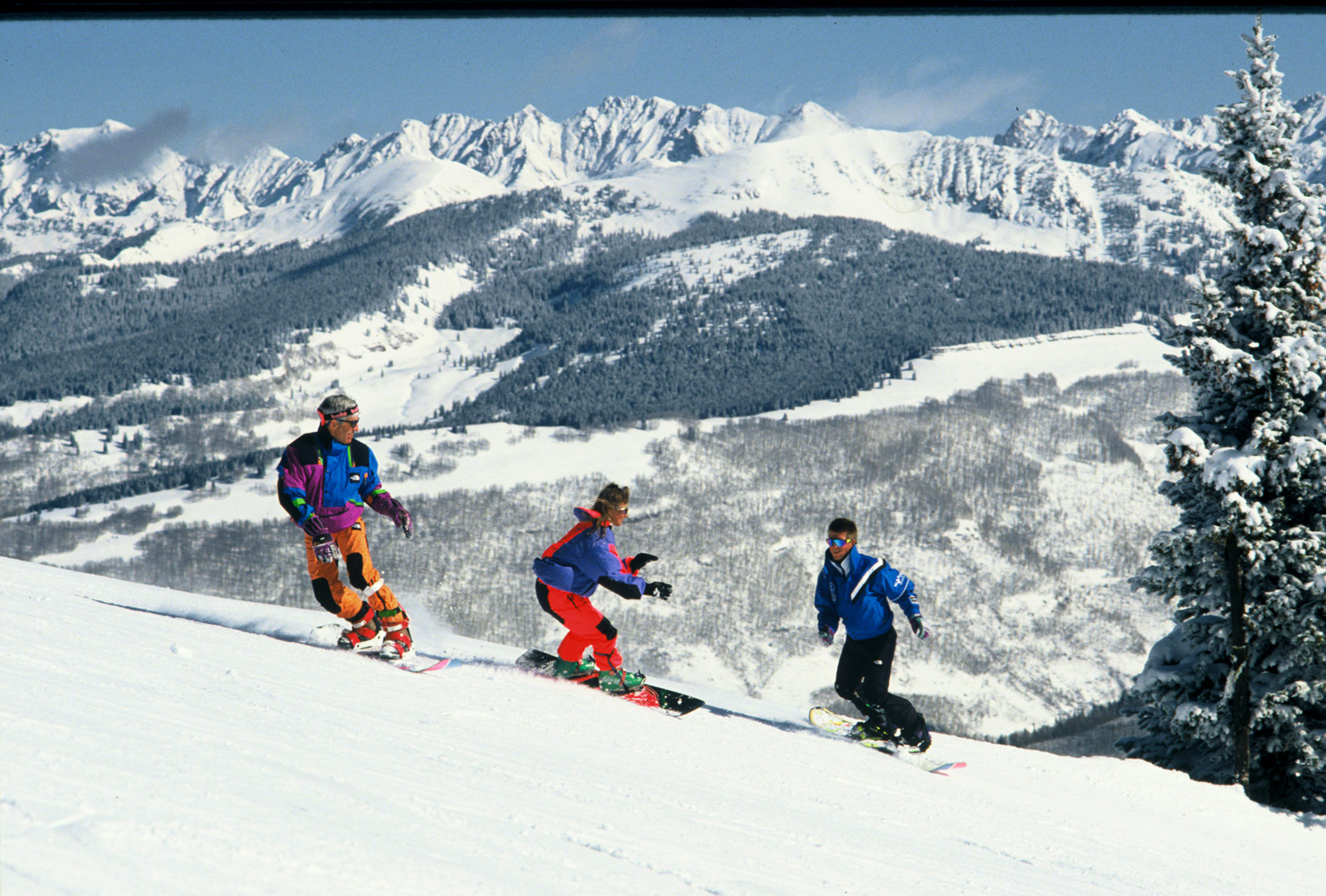 1995 Historical Images In Vail, CO. Vintage snowboarding outfits.