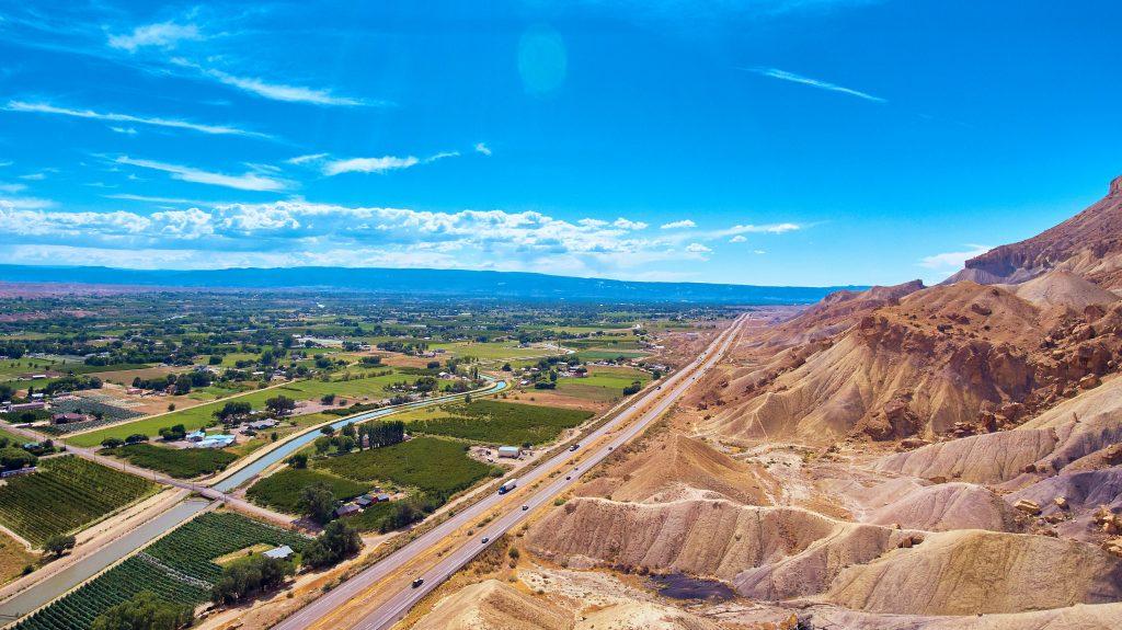 Colorado Getaways - Aerial view of Palisade Peach Farms and Wineries