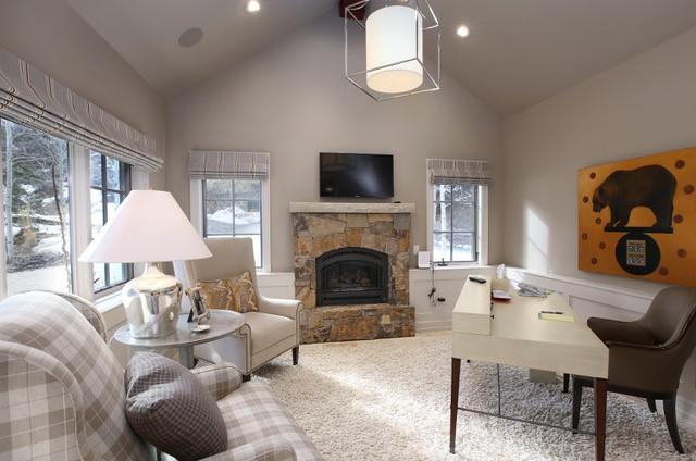 Light-filled office in luxury Arrowhead mountain home