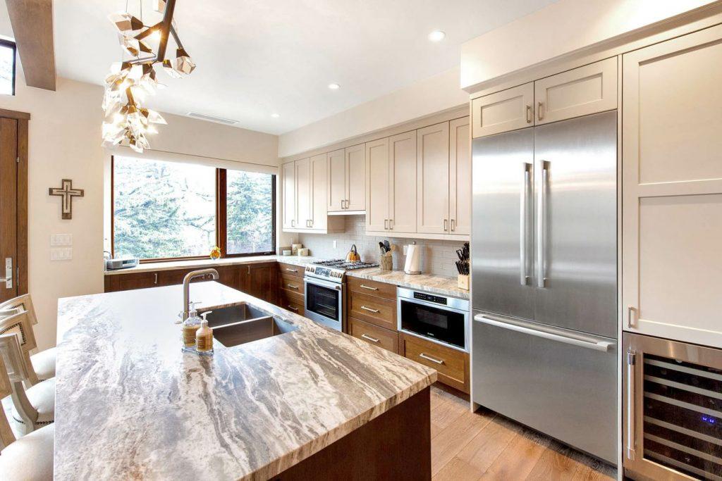 Sun-filled kitchen in mountain luxury residence