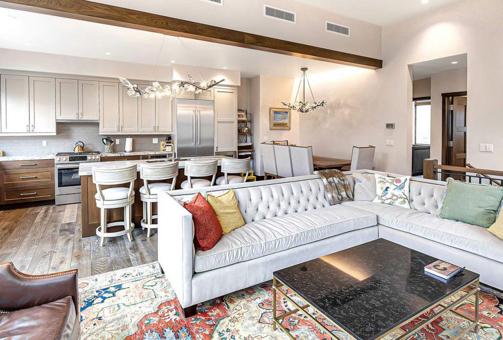 Sun-filled living room of mountain luxury residence