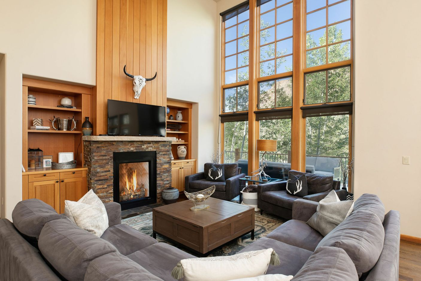 Living room shot of luxury mountain home.