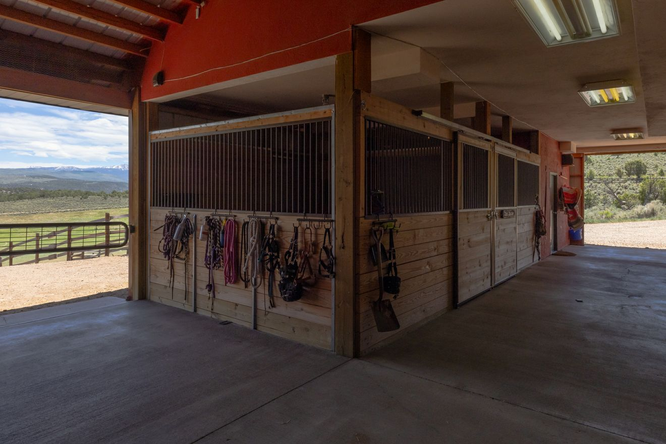 Horse stalls in luxury mountain ranch for sale