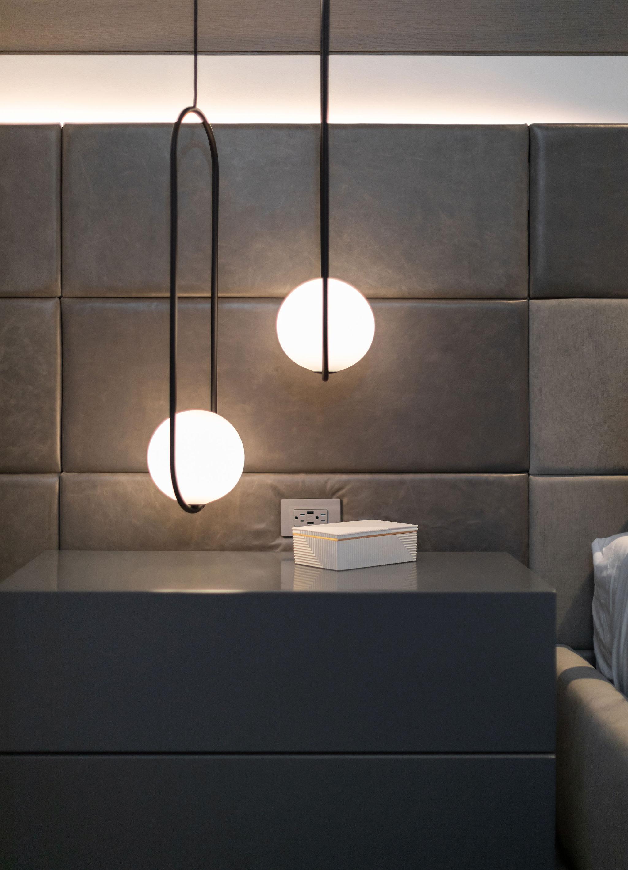Designer lighting in bedroom of luxury mountain home