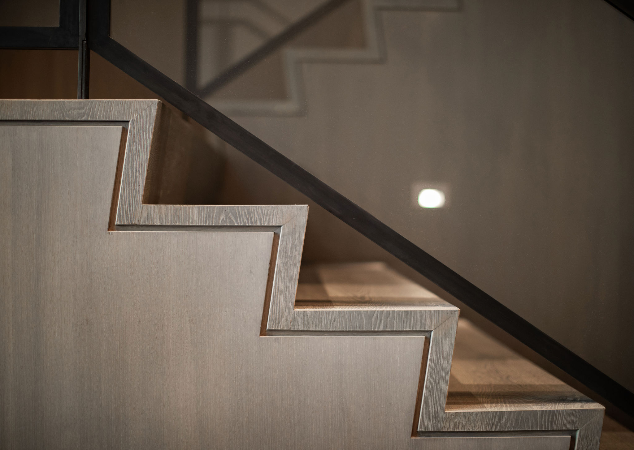 Close up of custom designed staircase in luxury mountain home