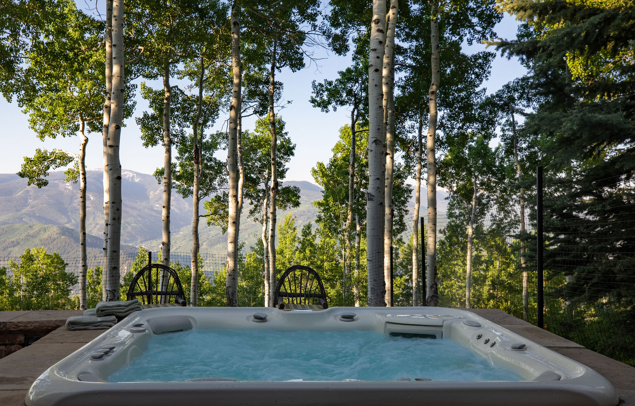 Beautiful views from the hot tub of a luxury mountain home