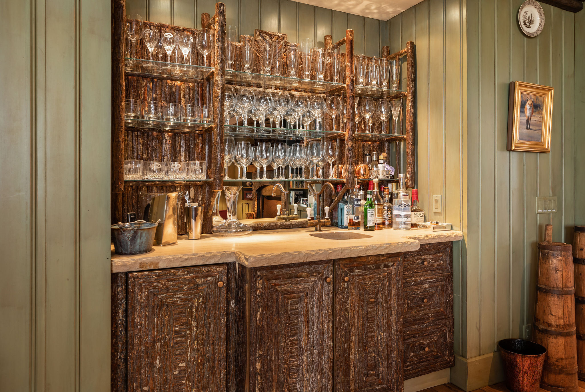 Bar area in luxury mountain home