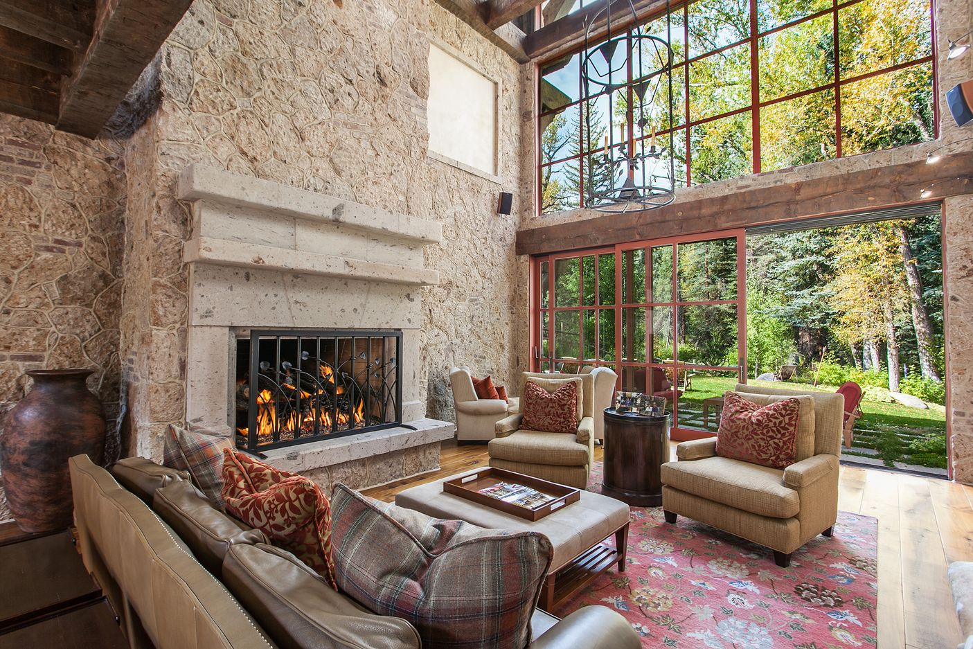 Great room with fireplace and indoor/outdoor living