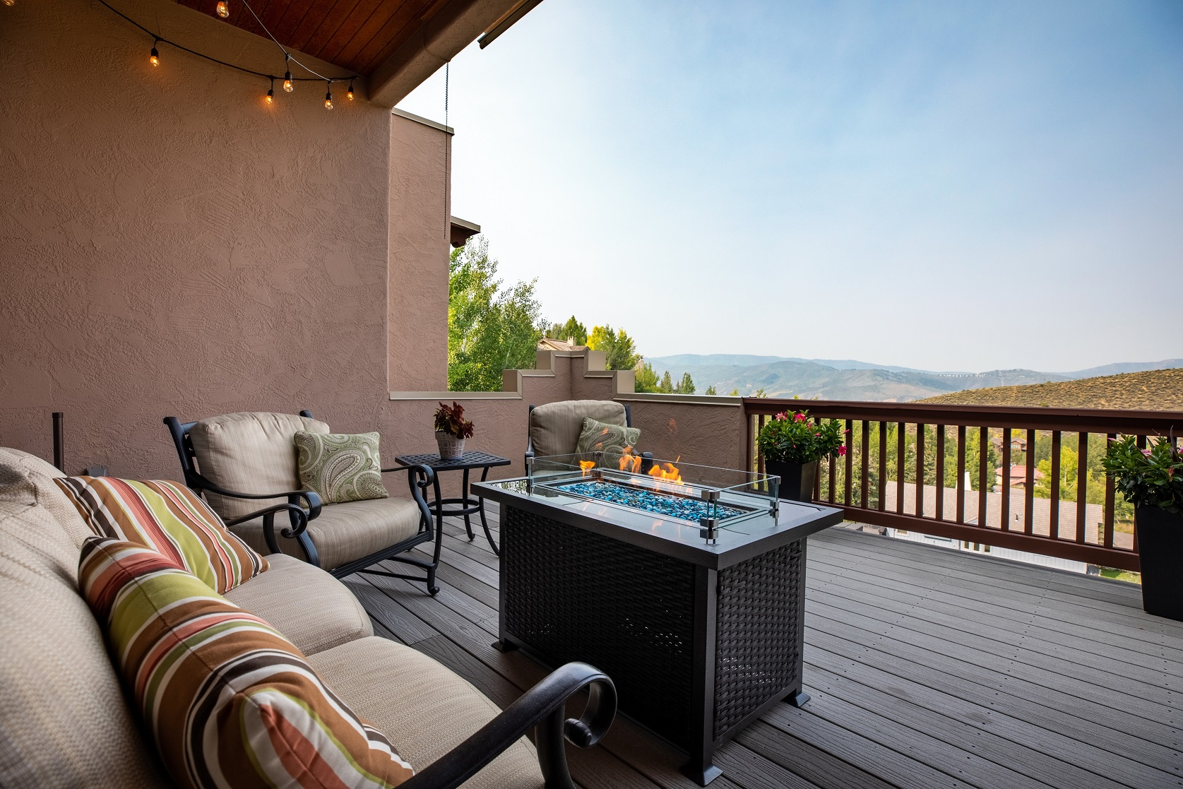 Mountain view from outdoor living space of luxury home