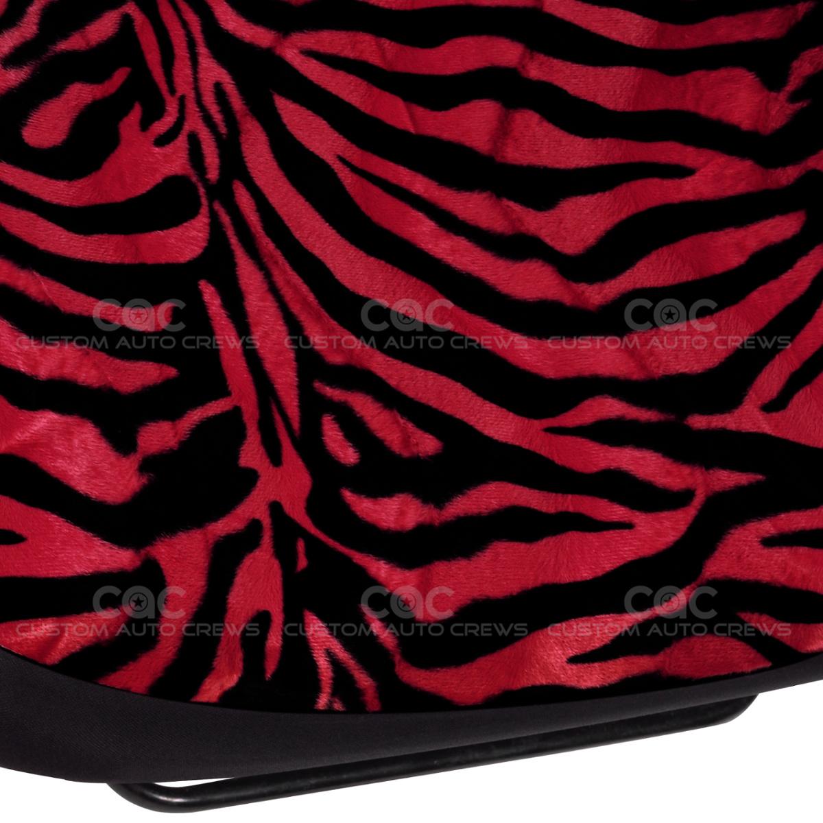 Zebra Print Seat Covers Set Pair 2pc High Back Bucket