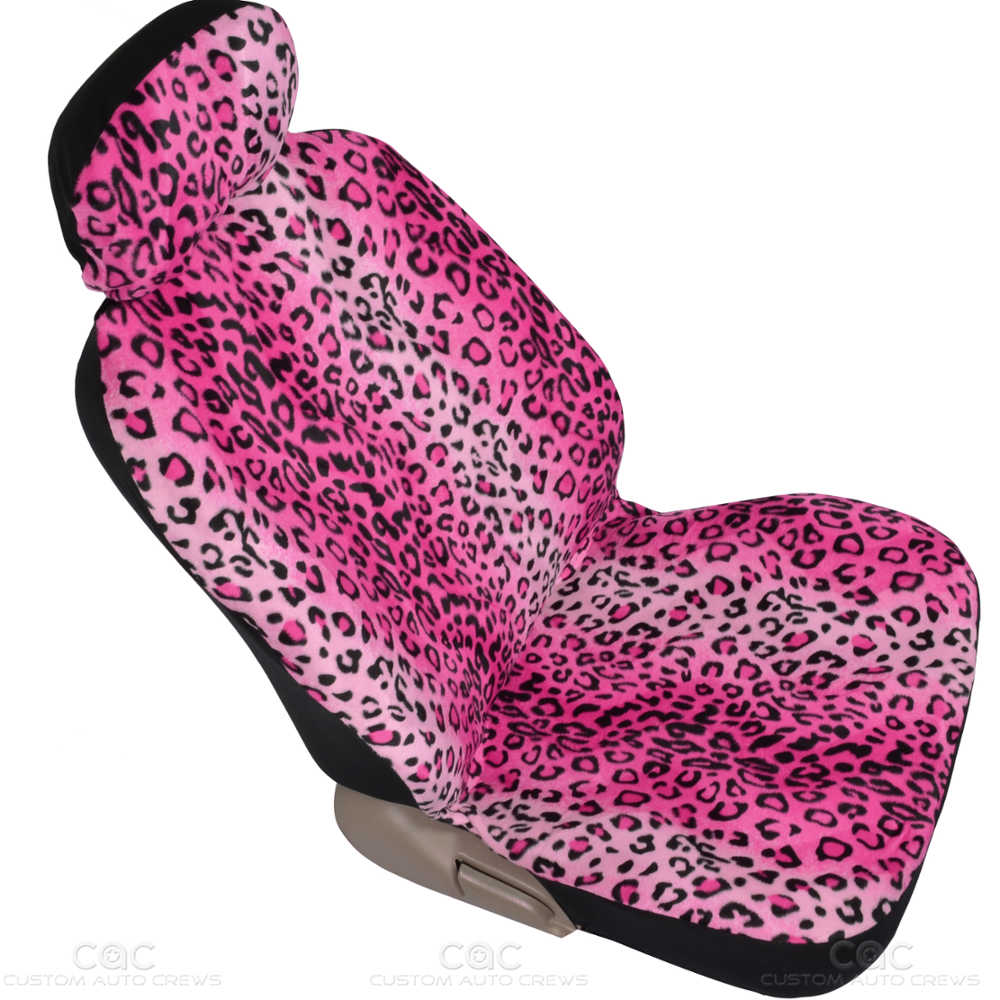 front pair seat covers for car animal leopard pink print ebay. Black Bedroom Furniture Sets. Home Design Ideas