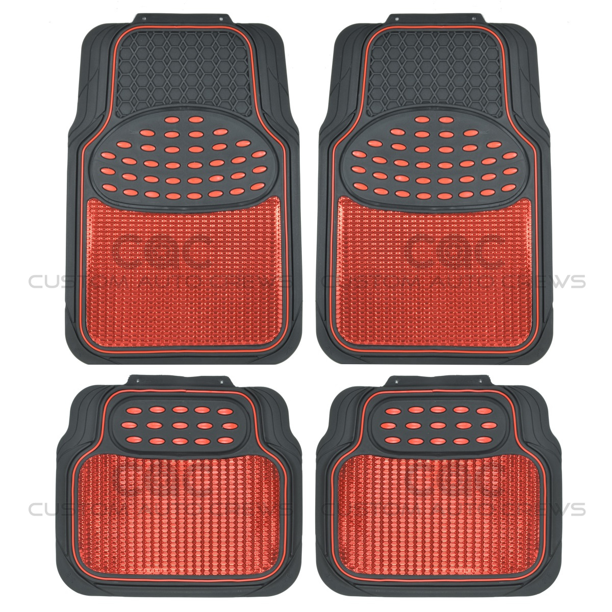 Rubber mats ebay - Image Is Loading Car Rubber Floor Mats Red Metallic Design On