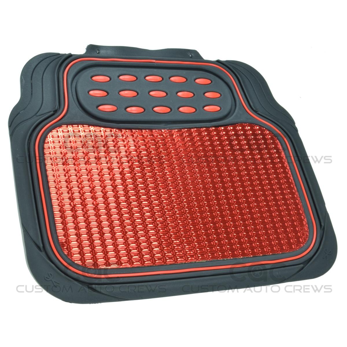 Rubber queen floor mats - Car Rubber Floor Mats Red Metallic Design On