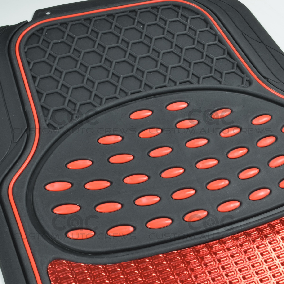 Car Rubber Floor Mats Red Metallic Design On Black Heavy
