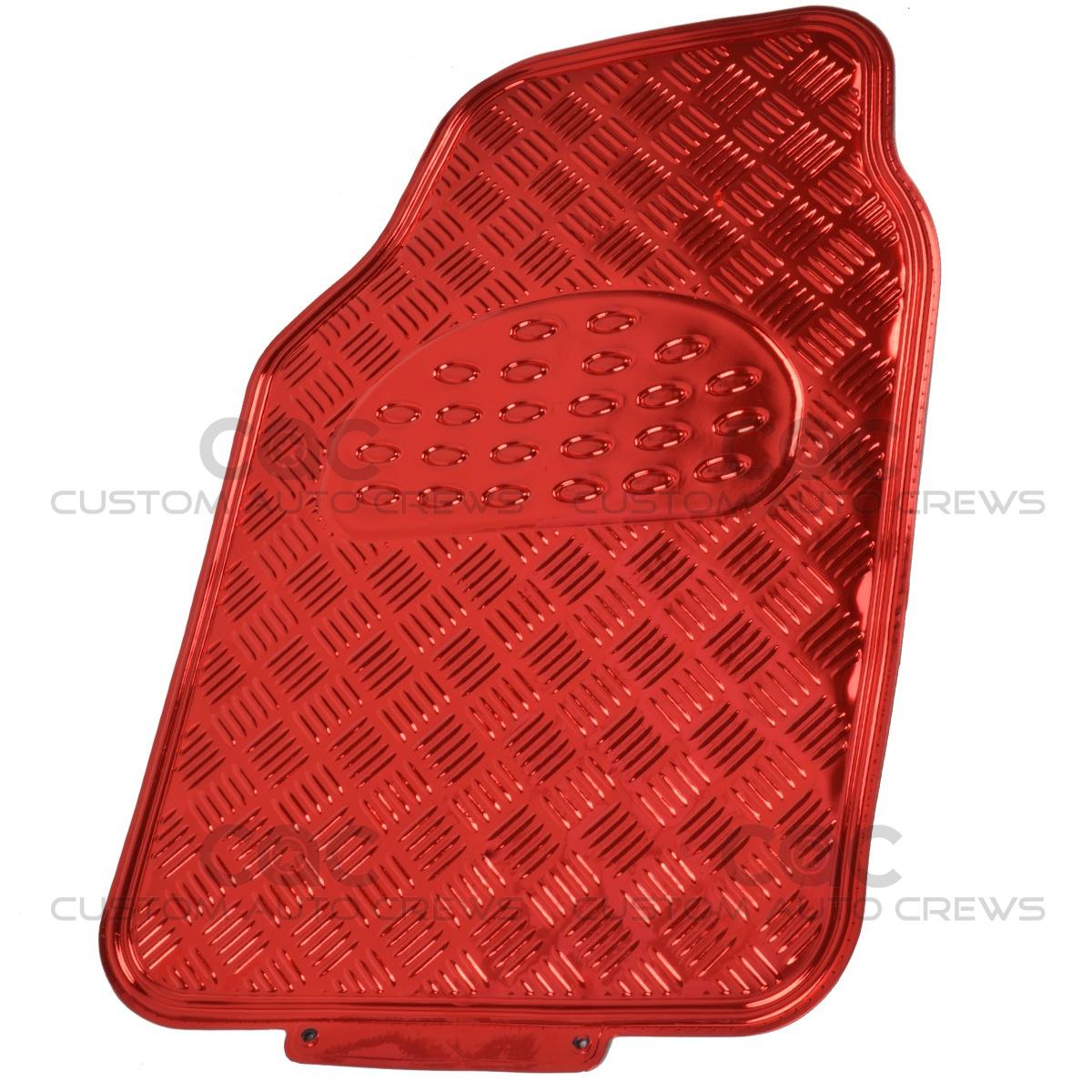 Rubber queen floor mats - Red Metallic Rubber Floor Mats Set 4pc Car