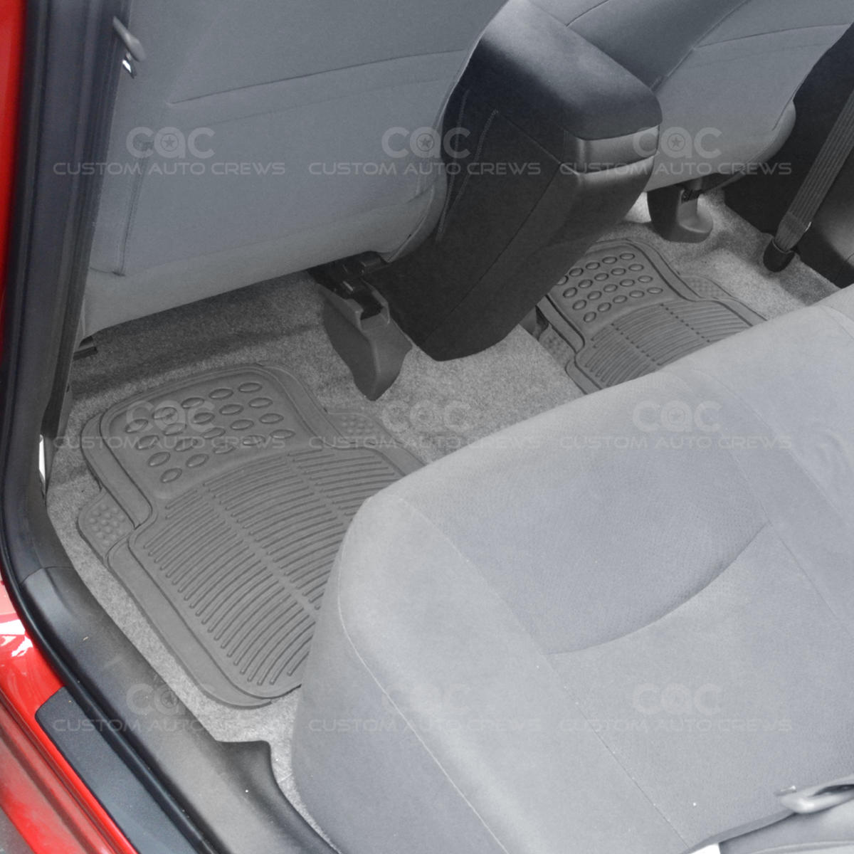 gray 2pc rubber utility floor mats for car truck suv heavy duty auto interior ebay. Black Bedroom Furniture Sets. Home Design Ideas