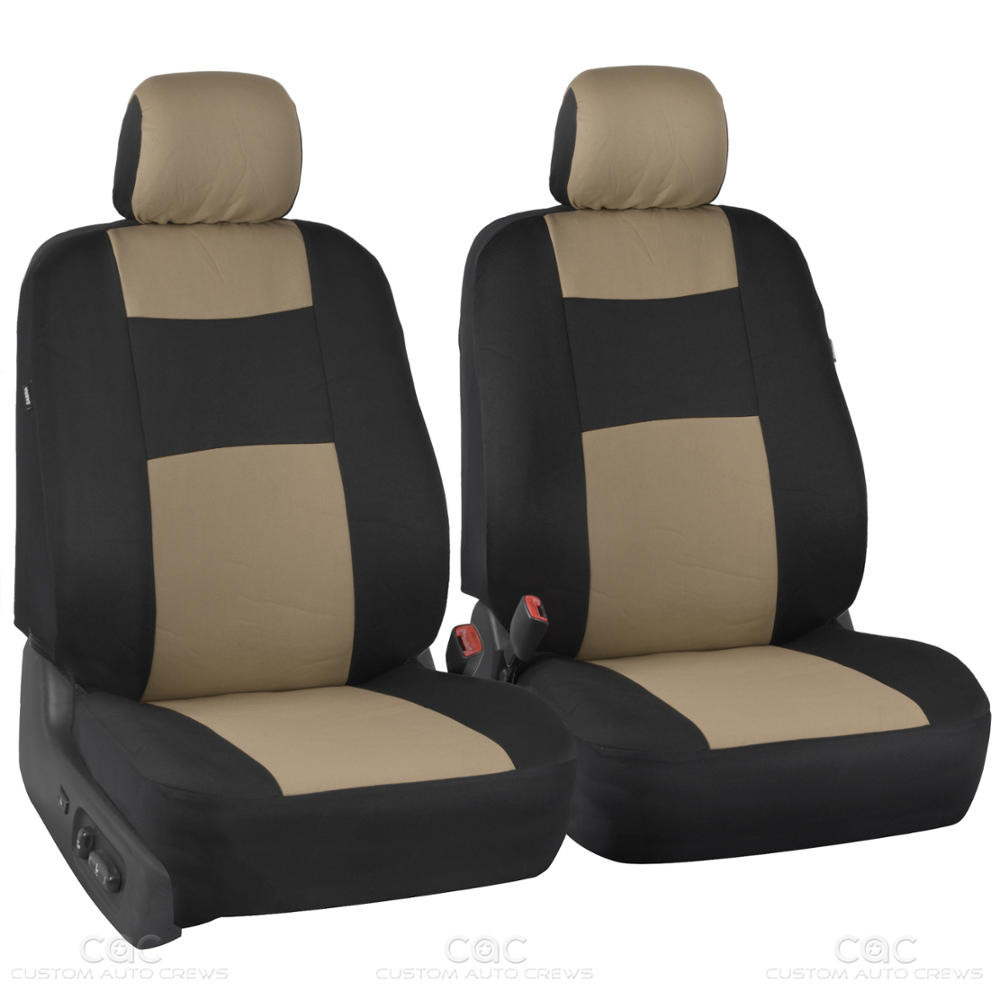 beige tan synth leather seat covers for car stitched grip steering wheel cover ebay. Black Bedroom Furniture Sets. Home Design Ideas