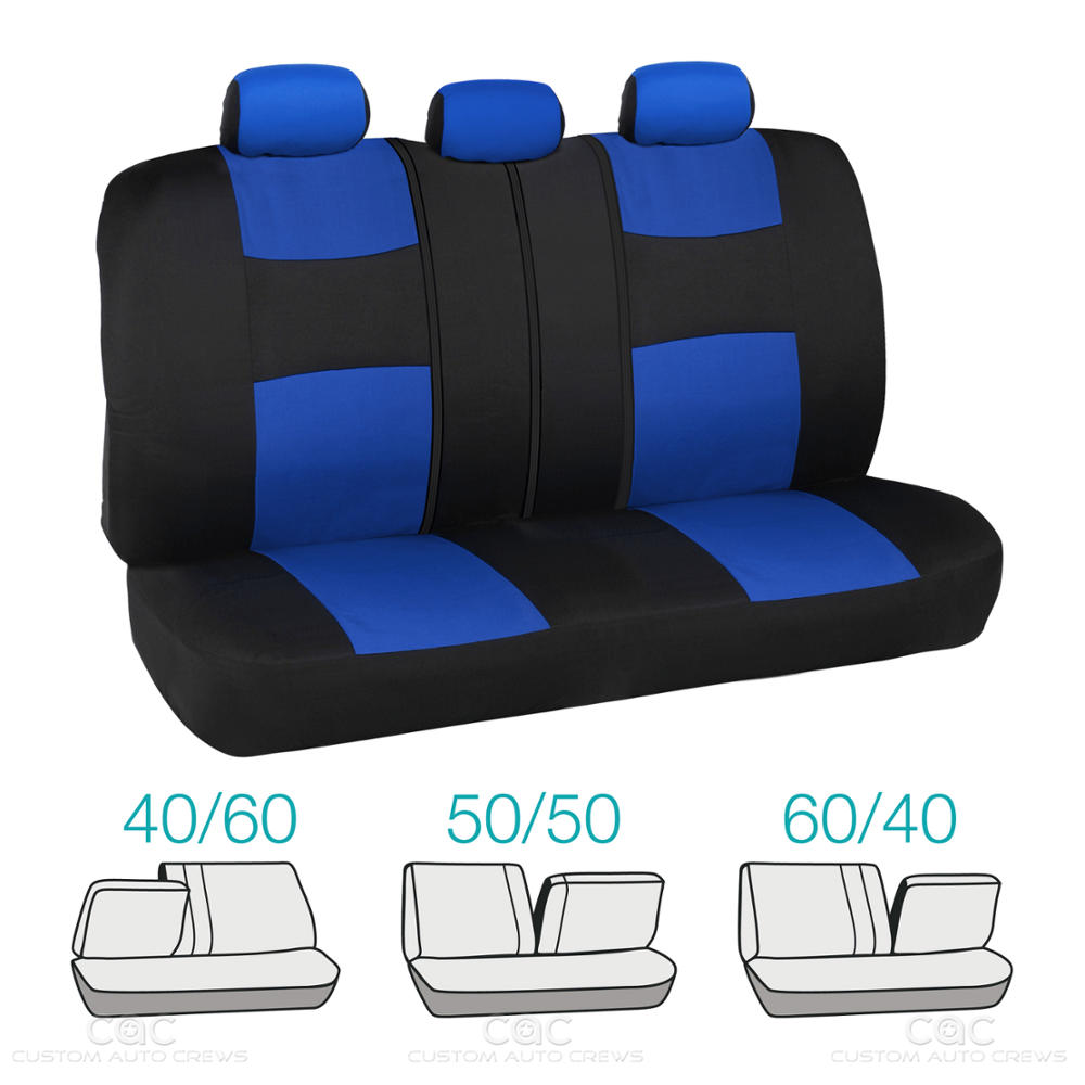 Split Bench Seat Covers ~ Blue car seat covers set split bench option headrests w