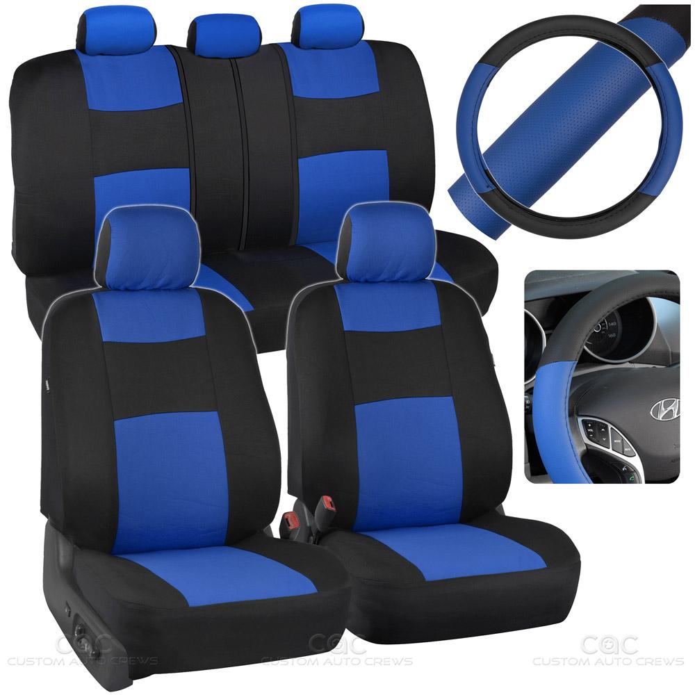 Blue Car Seat Covers Set Split Bench Option 5 Headrests W
