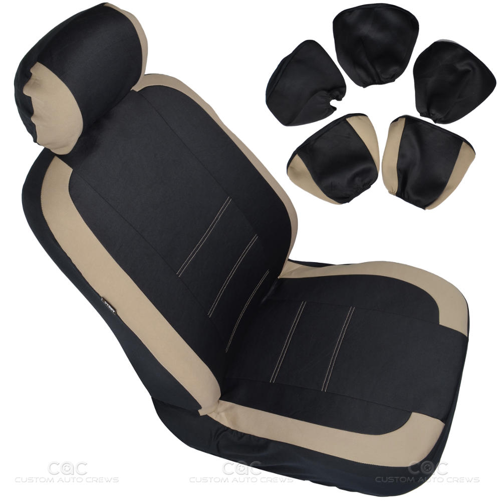 two tone black beige accent stripes car seat covers cute interior set 13pcs ebay. Black Bedroom Furniture Sets. Home Design Ideas