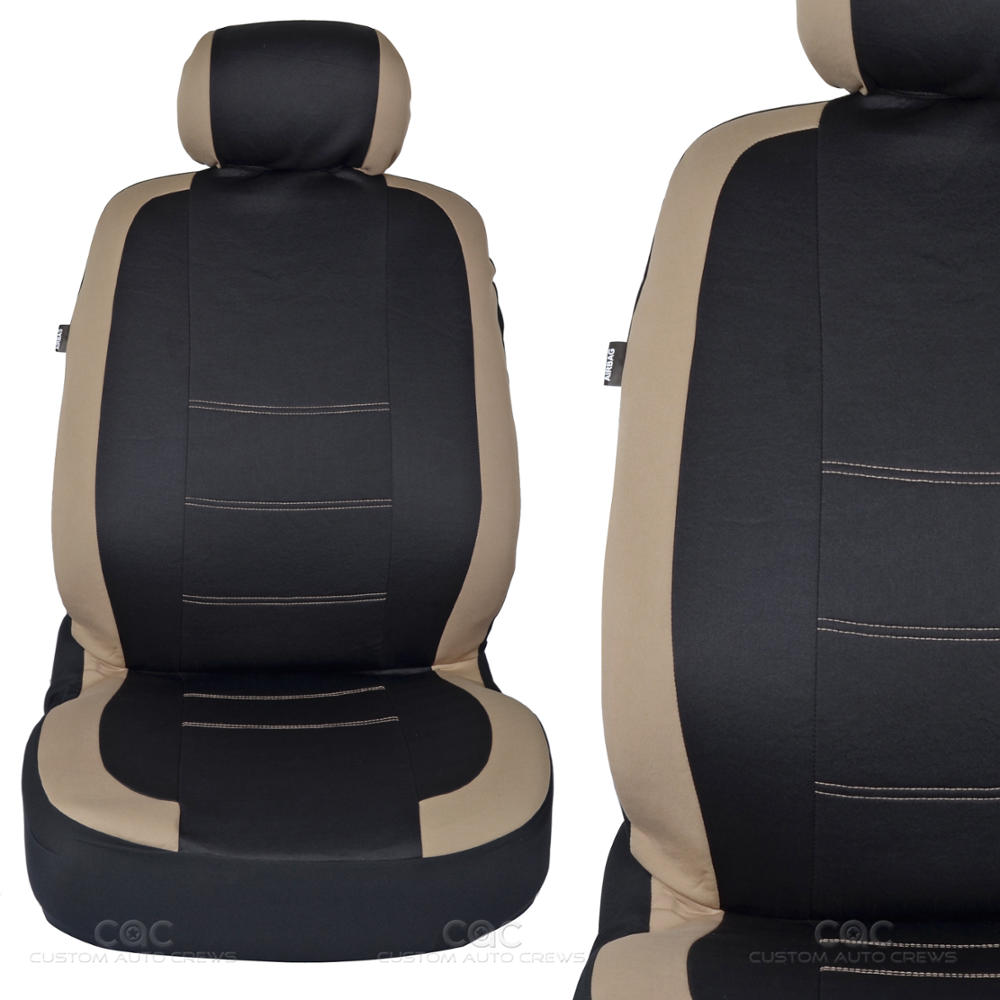 Two Tone Black Amp Beige Accent Stripes Car Seat Covers