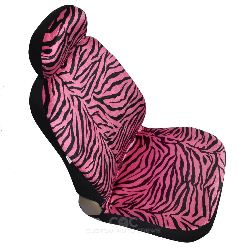 Hot Pink Animal Print Zebra Seat Covers Set W Split Bench