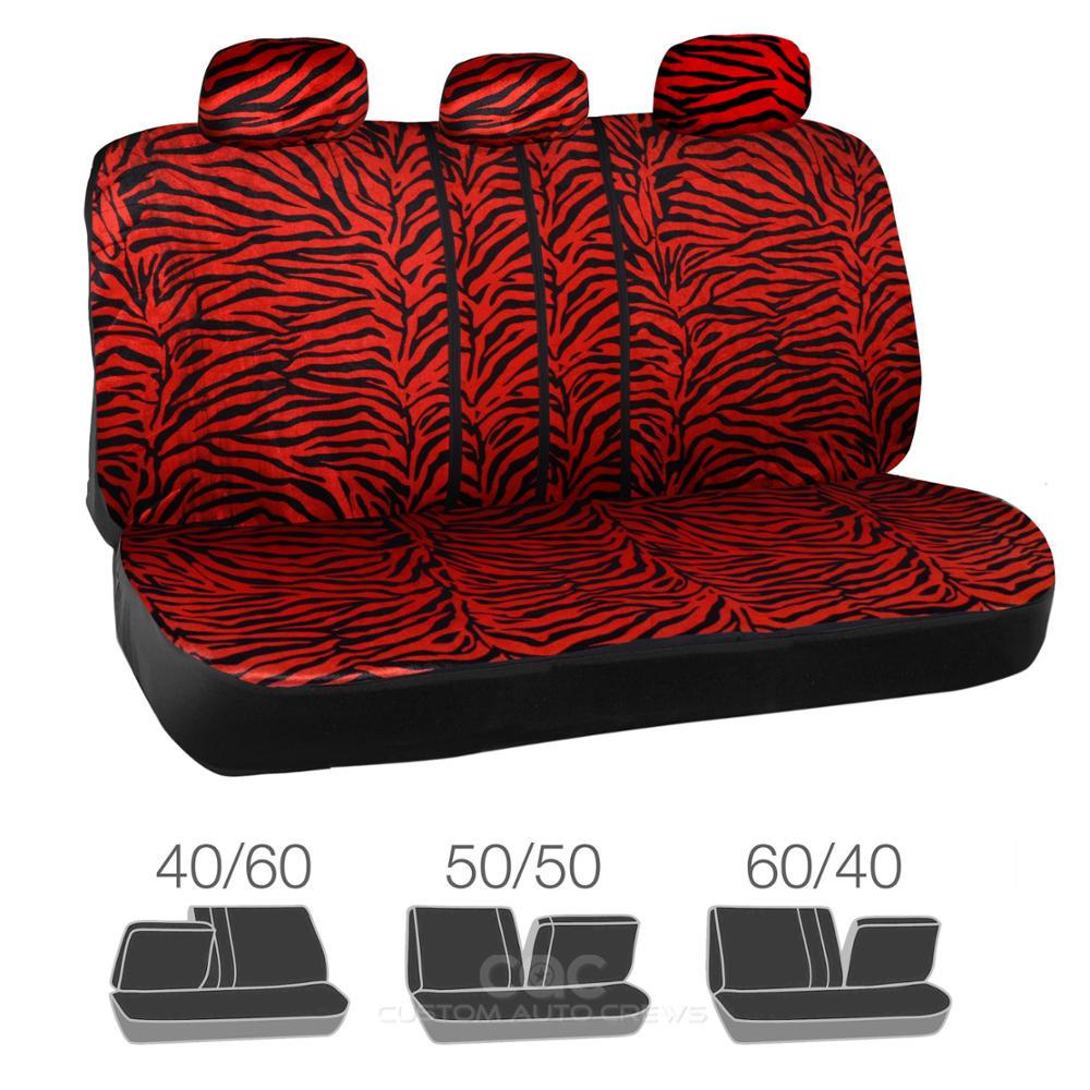 red animal print zebra seat covers set w split bench for car suv van ebay. Black Bedroom Furniture Sets. Home Design Ideas