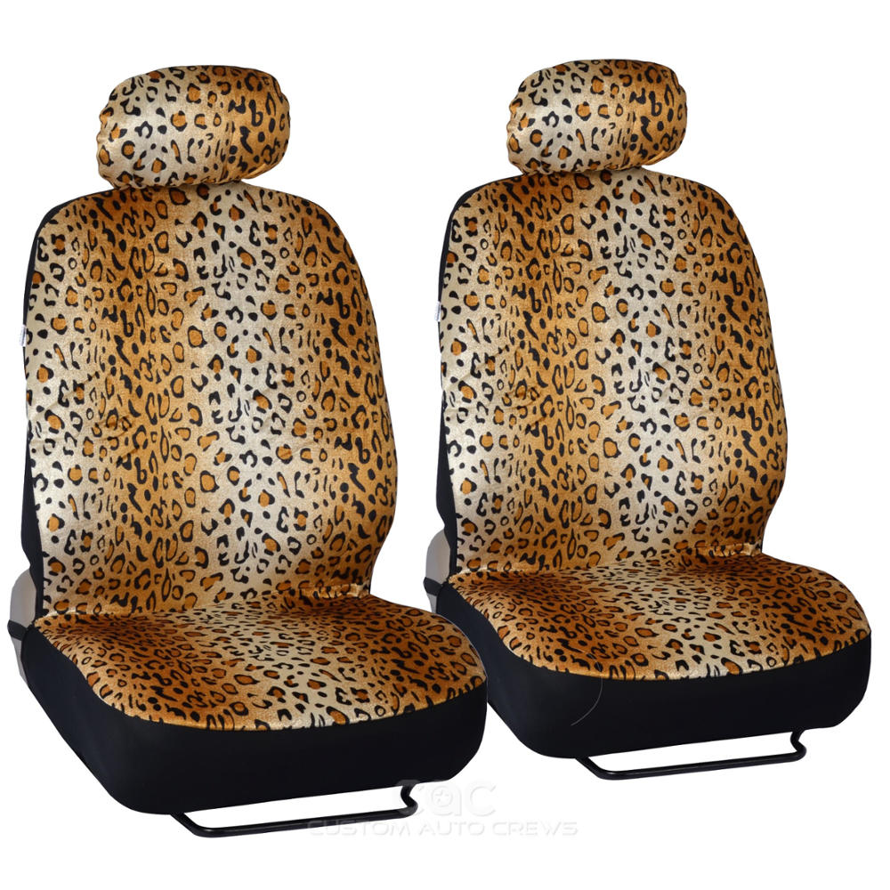 Beige Animal Print Leopard Seat Covers Set W Split Bench