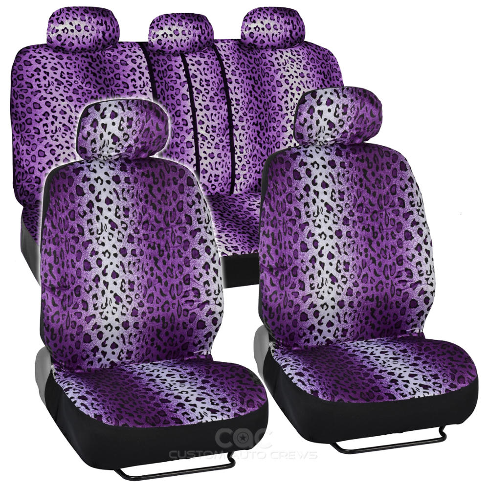 Purple Animal Print Leopard Seat Covers Set W Split Bench