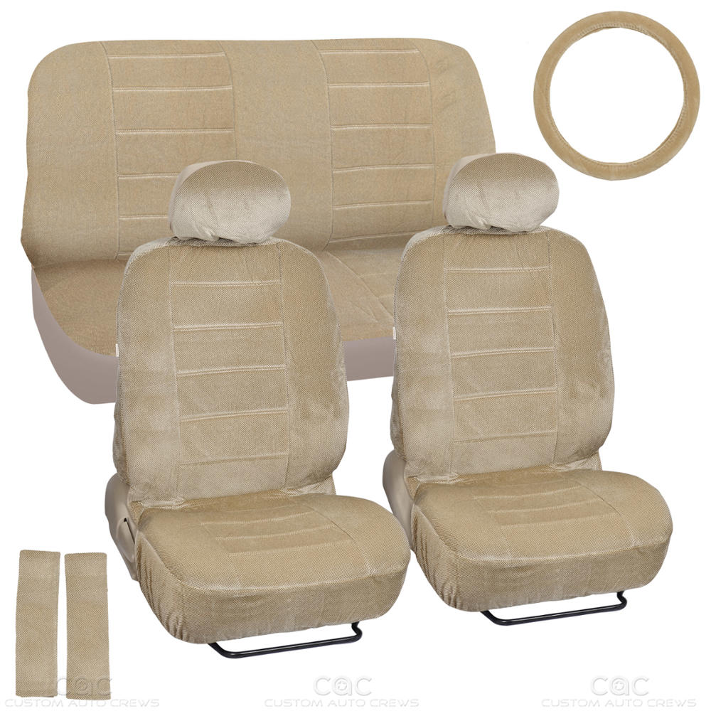 car seat covers beige regal velour front and rear bench 9 piece full set ebay. Black Bedroom Furniture Sets. Home Design Ideas