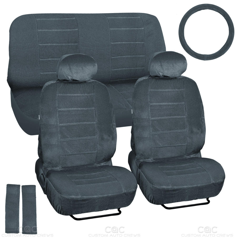 regal premium velour car seat covers full auto interior accessories charcoal. Black Bedroom Furniture Sets. Home Design Ideas