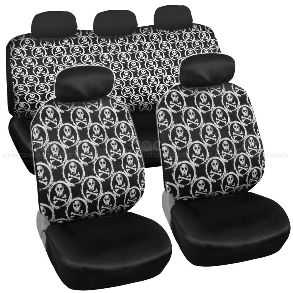 Car Seat Covers White Skull Design Universal Fit Full Set