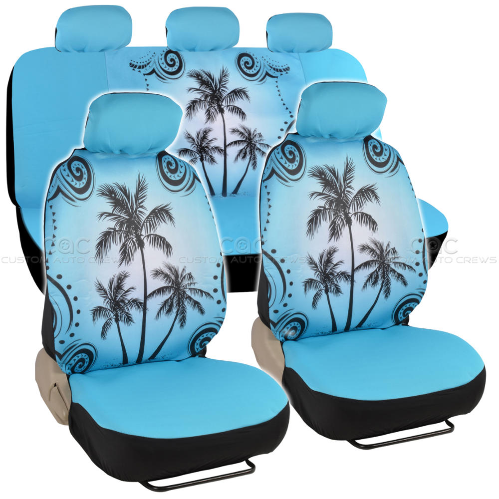 Blue Palm Tree Car Seat Cover Front Rear Full Set Auto