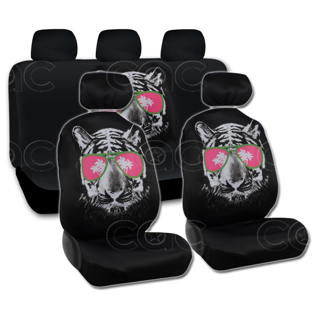 Cool Hip Tiger Seat Cover For Car SUV Fron Rear Set W Belt