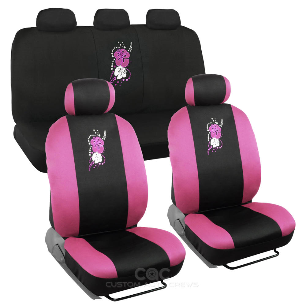 bdk pink licensed design hawaii flower full set 9 pc seat covers for car suv van ebay. Black Bedroom Furniture Sets. Home Design Ideas