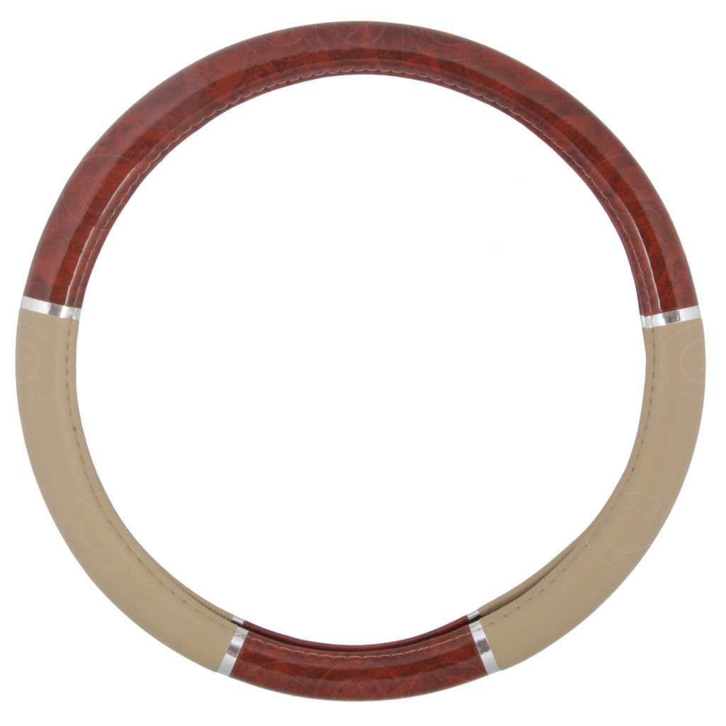 dark wood grain steering wheel cover for van car suv premium beige syn leather ebay. Black Bedroom Furniture Sets. Home Design Ideas
