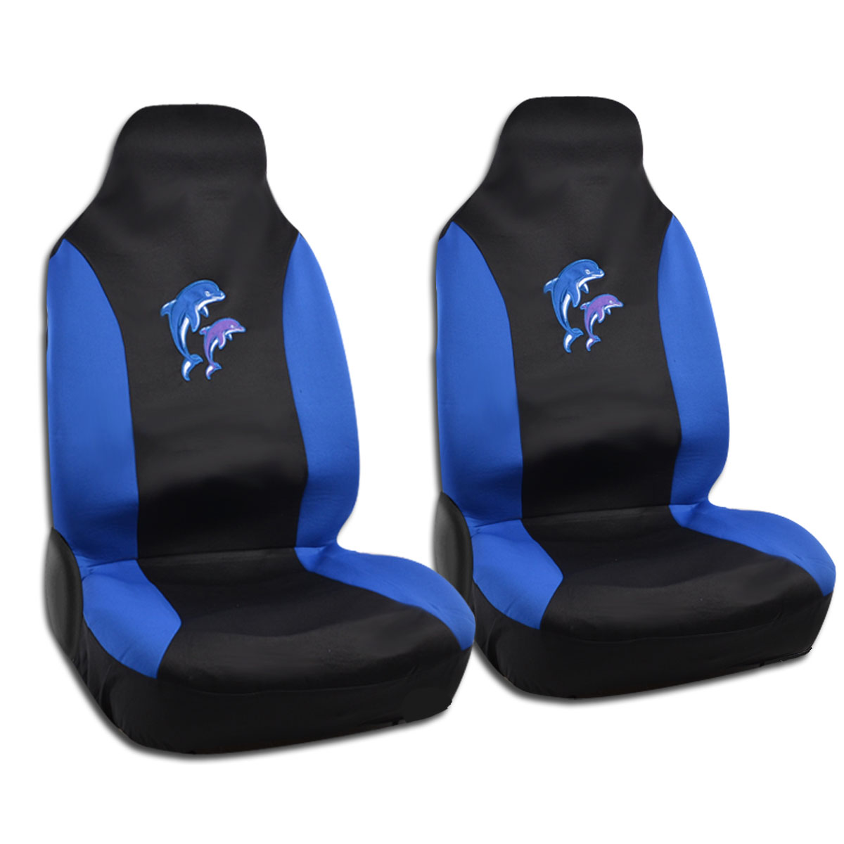 Highback Bucket Car Seat Covers Dolphin Black W Blue