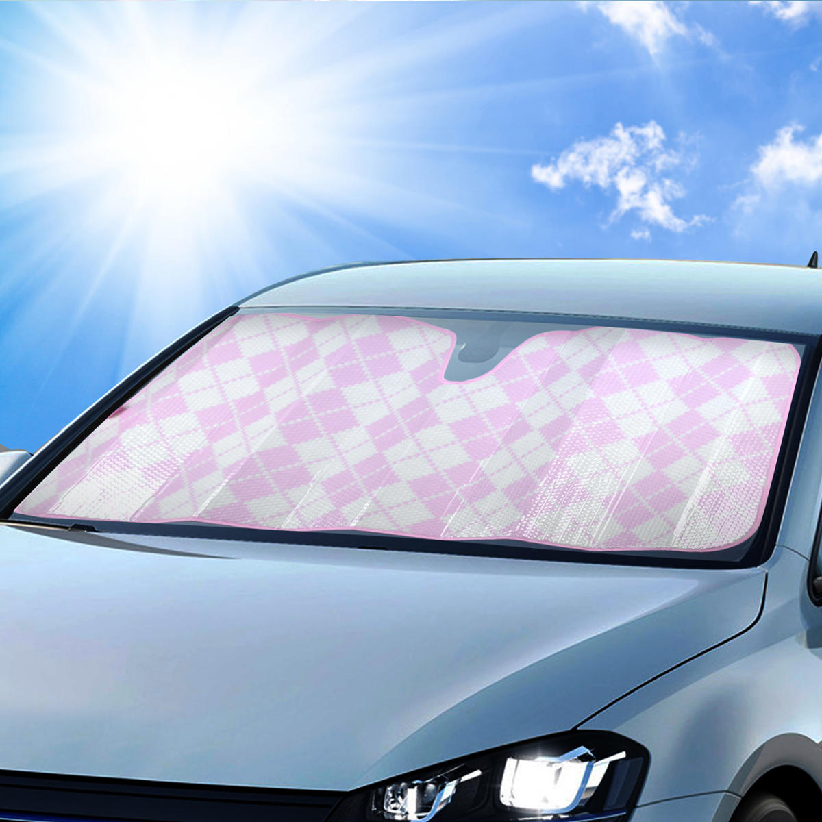 1 piece pink checkers sunshade front windshield reflective backing auto shade ebay. Black Bedroom Furniture Sets. Home Design Ideas