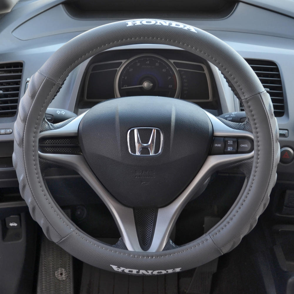 Gray Cushion Grip Synth Leather Steering Wheel Cover For