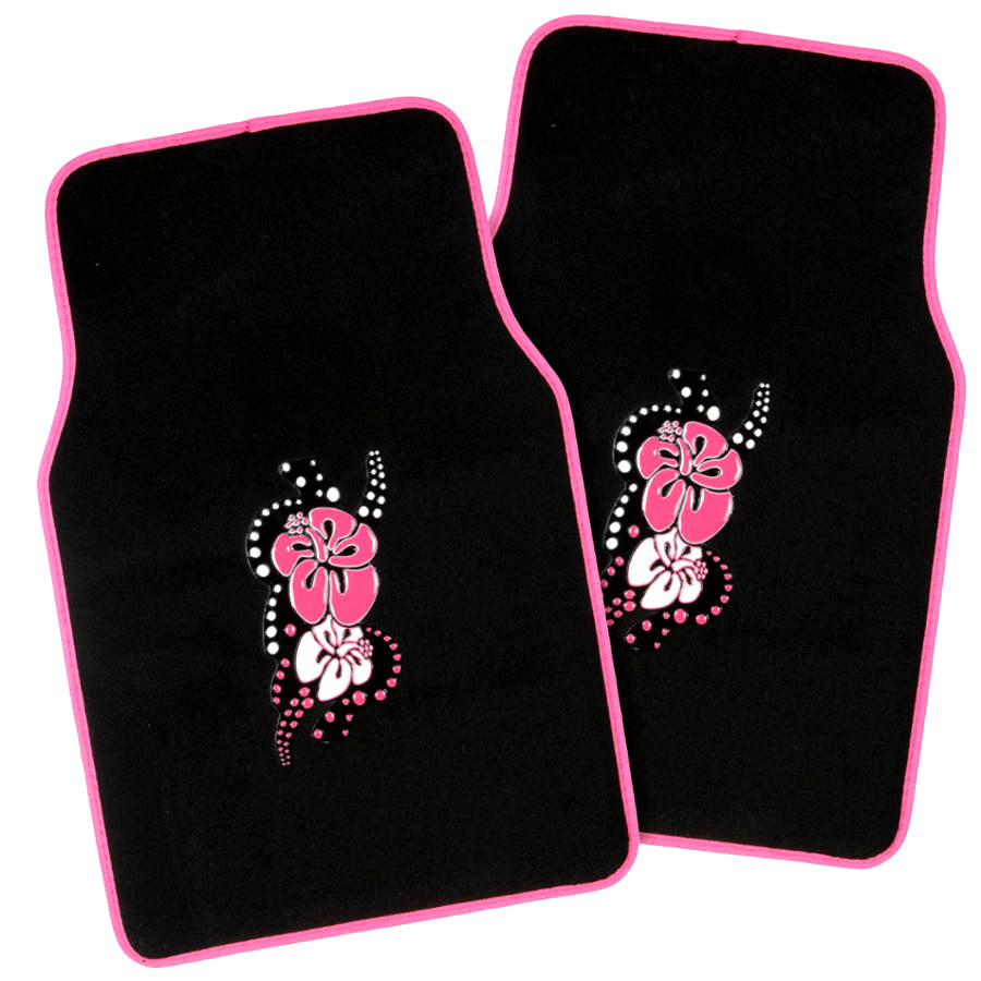 Black Pink Car Seat Covers For Auto Amp Pink Hibiscus Flower