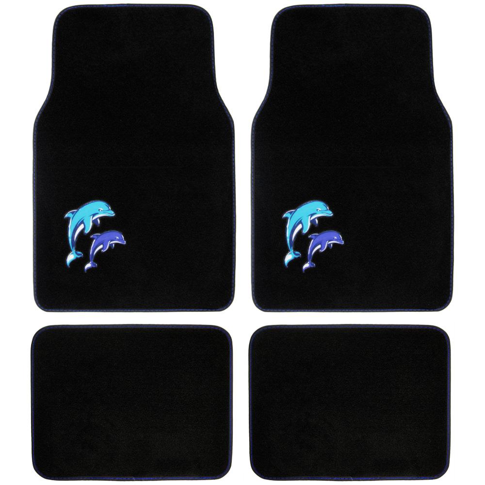 Custom design carpet floor mats 4 pc car accessories for girls custom design carpet floor mats 4 pc car accessories for girls blue dolphin baanklon Gallery