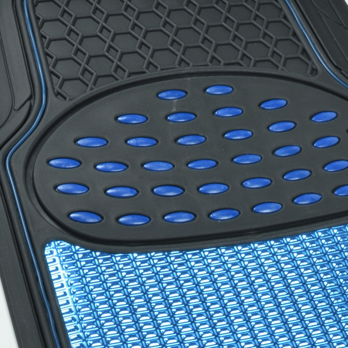 Aluminum Metallic Trimmable Rubber Car Floor Mat Blue