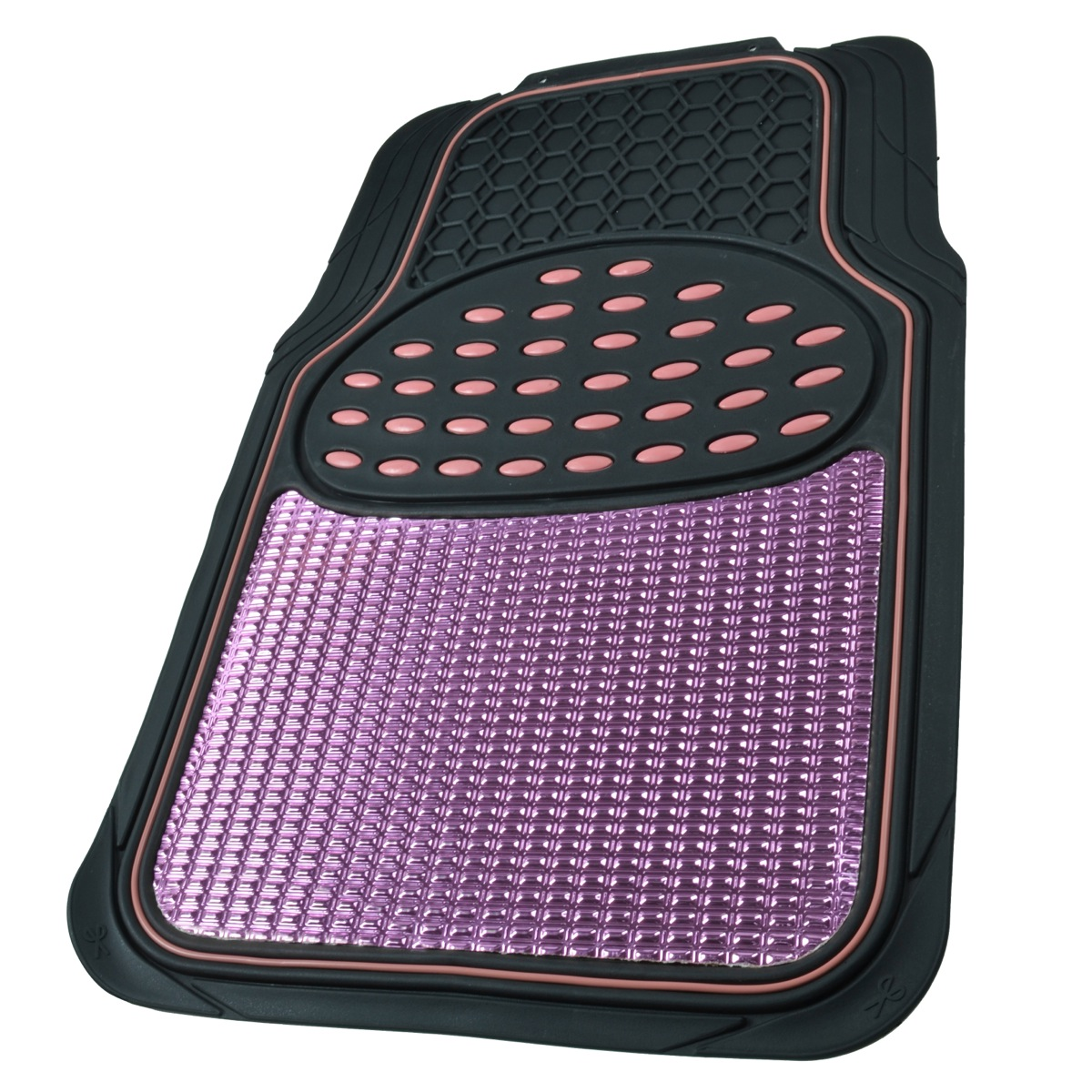 Aluminum Metallic Trimmable Rubber Car Floor Mat Pink